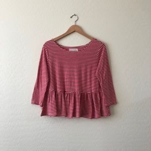 Free People Red White Striped Blouse Size Med